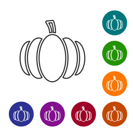 Black line Pumpkin icon isolated on white background. Happy Halloween party. Set icons in color circle buttons. Vector