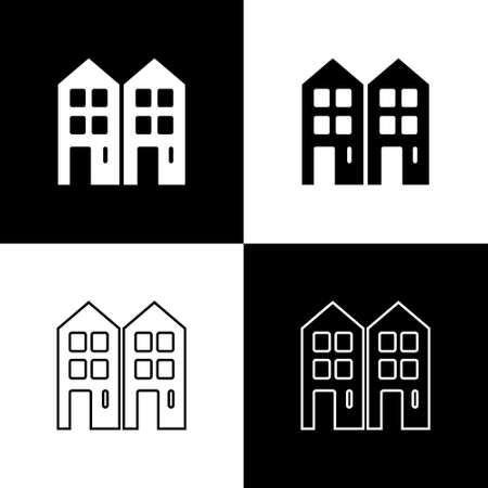 Set House icon isolated on black and white background. Home symbol. Vector