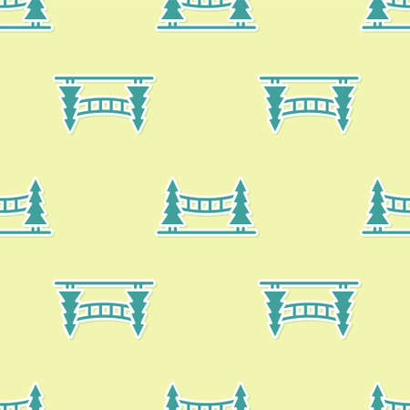 Green Capilano Suspension Bridge in Vancouver, Canada icon isolated seamless pattern on yellow background. Vector Çizim