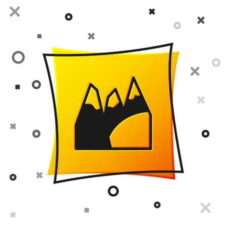 Black Mountains icon isolated on white background. Symbol of victory or success concept. Goal achievement. Yellow square button. Vector