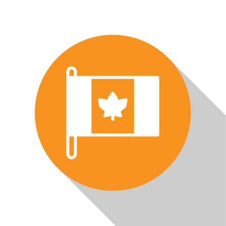 White Flag of Canada icon isolated on white background. North America country flag on flagpole. Orange circle button. Vector