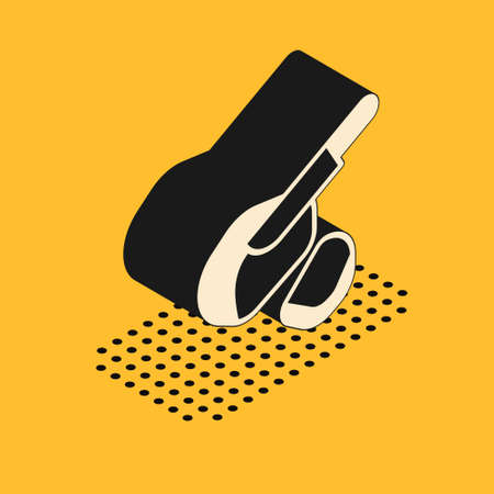 Isometric Canadian peameal bacon icon isolated on yellow background. Vector Çizim