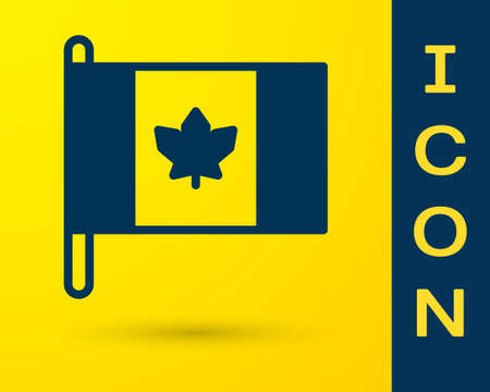 Blue Flag of Canada icon isolated on yellow background. North America country flag on flagpole. Vector