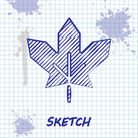 Sketch line Canadian maple leaf icon isolated on white background. Canada symbol maple leaf. Vector