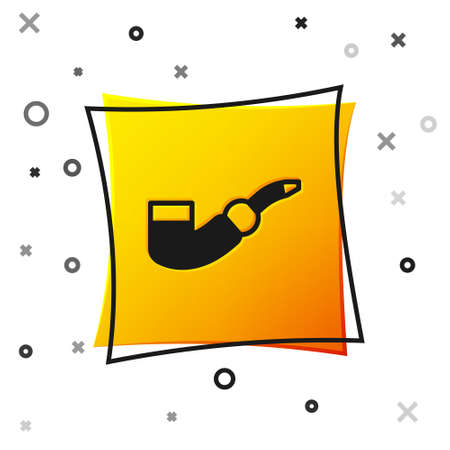 Black Smoking pipe icon isolated on white background. Tobacco pipe. Yellow square button. Vector