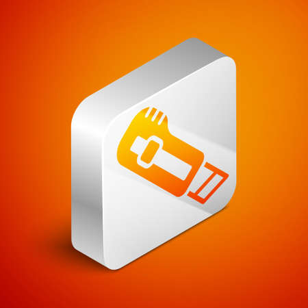 Isometric Stationery knife icon isolated on orange background. Office paper cutter. Silver square button. Vector