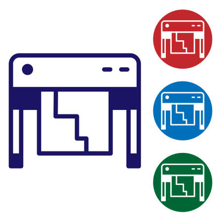 Blue Plotter icon isolated on white background. Large format multifunction printer. Polygraphy, printshop service. Set icons in color square buttons. Vector
