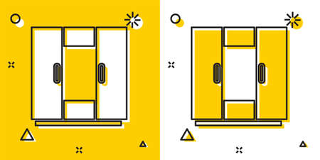 Black Wardrobe icon isolated on yellow and white background. Random dynamic shapes. Vector