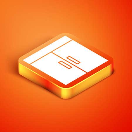 Isometric Wardrobe icon isolated on orange background. Vector