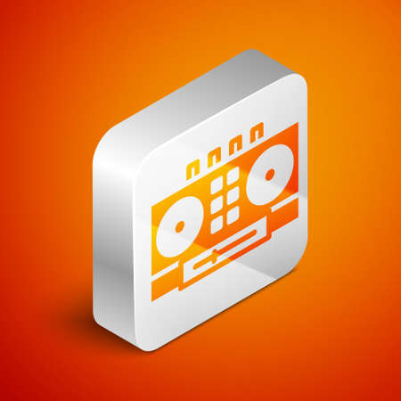 Isometric DJ remote for playing and mixing music icon isolated on orange background. DJ mixer complete with vinyl player and remote control. Silver square button. Vector Vettoriali