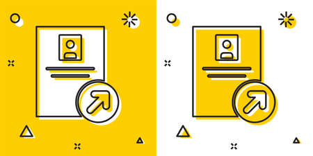 Black Job promotion icon isolated on yellow and white background. Success, achievement, motivation business symbol, growth. Random dynamic shapes. Vector