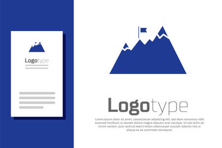 Blue Mountains with flag on top icon isolated on white background. Symbol of victory or success concept. Goal achievement. Logo design template element. Vector