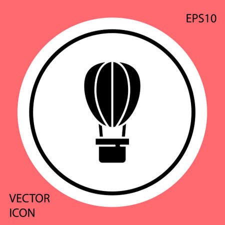 Black Hot air balloon icon isolated on red background. Air transport for travel. White circle button. Vector Ilustrace