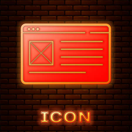 Glowing neon Browser window icon isolated on brick wall background. Vector