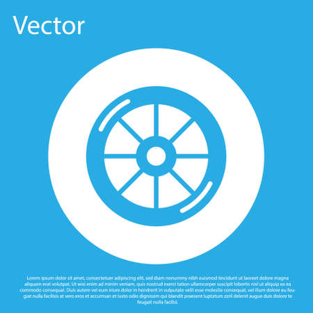 Blue Bicycle wheel icon isolated on blue background. Bike race. Extreme sport. Sport equipment. White circle button. Vector Ilustração