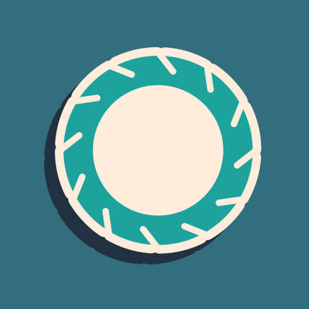 Green Bicycle wheel tire icon isolated on green background. Bike race. Extreme sport. Sport equipment. Long shadow style. Vector