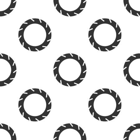 Grey Bicycle wheel tire icon isolated seamless pattern on white background. Bike race. Extreme sport. Sport equipment. Vector