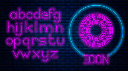 Glowing neon Bicycle ball bearing icon isolated on brick wall background. Neon light alphabet. Vector