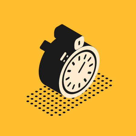 Isometric Stopwatch icon isolated on yellow background. Time timer sign. Chronometer sign. Vector 向量圖像