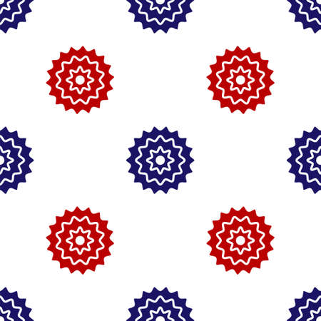 Blue and red Bicycle cassette mountain bike icon isolated seamless pattern on white background. Rear Bicycle Sprocket. Chainring crankset with chain. Vector Vettoriali