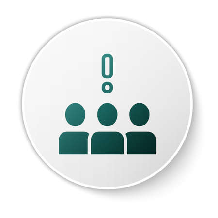 Green Crowd protest icon isolated on white background. Demonstration. White circle button. Vector