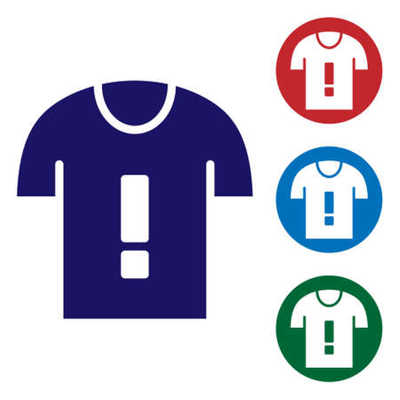 Blue T-shirt protest icon isolated on white background. Set icons in color square buttons. Vector Ilustração