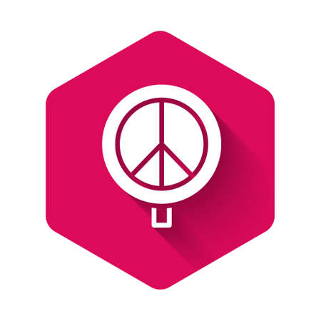 White Peace icon isolated with long shadow. Hippie symbol of peace. Pink hexagon button. Vector