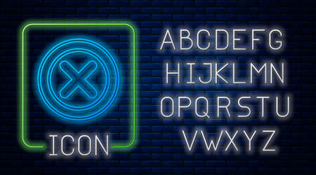 Glowing neon X Mark, Cross in circle icon isolated on brick wall background. Check cross mark icon. Neon light alphabet. Vector 向量圖像