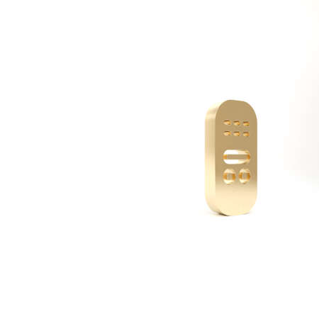 Gold Remote control icon isolated on white background. 3d illustration 3D render