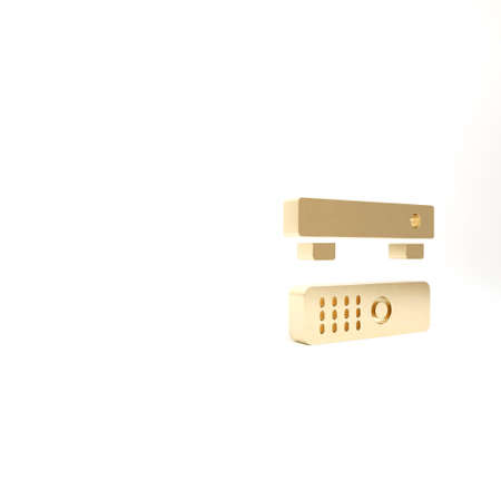 Gold Multimedia and TV box receiver and player with remote controller icon isolated on white background. 3d illustration 3D render Archivio Fotografico