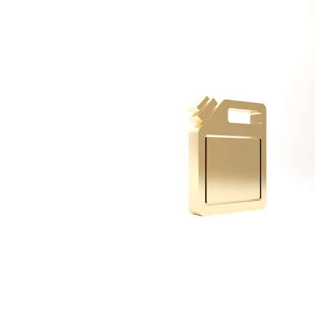 Gold Canister for gasoline icon isolated on white background. Diesel gas icon. 3d illustration 3D render
