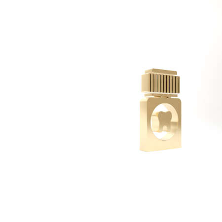 Gold Toothache painkiller tablet icon isolated on white background. Tooth care medicine. Capsule pill and drug. Pharmacy design. 3d illustration 3D render