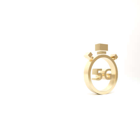 Gold Digital speed meter concept with 5G icon isolated on white background. Global network high speed connection data rate technology. 3d illustration 3D render