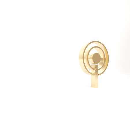 Gold Antenna icon isolated on white background. Radio antenna wireless. Technology and network signal radio antenna. 3d illustration 3D render Banco de Imagens