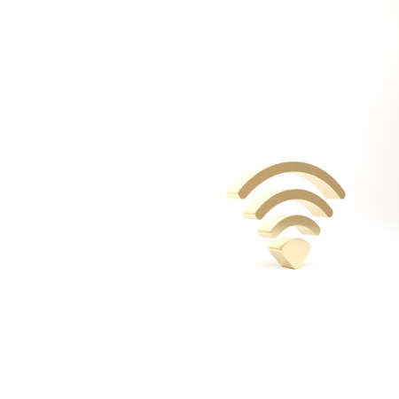 Gold WiFi wireless internet network symbol icon isolated on white background. 3d illustration 3D render