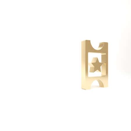 Gold Cinema ticket icon isolated on white background. 3d illustration 3D render