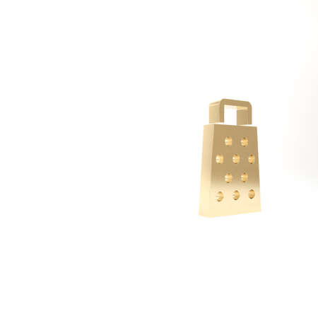 Gold Grater icon isolated on white background. Kitchen symbol. Cooking utensil. Cutlery sign. 3d illustration 3D render