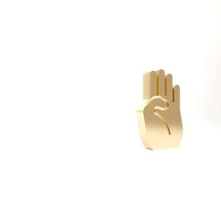 Gold Indian symbol hand icon isolated on white background. 3d illustration 3D render