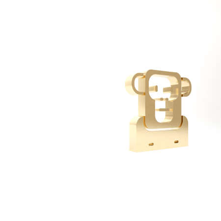 Gold Monkey icon isolated on white background. 3d illustration 3D render