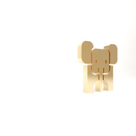 Gold Elephant icon isolated on white background. 3d illustration 3D render