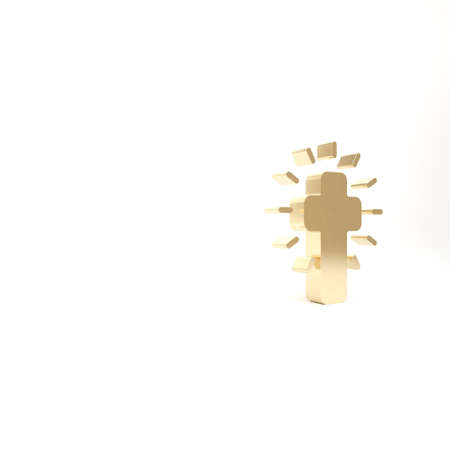 Gold Christian cross icon isolated on white background. Church cross. 3d illustration 3D render
