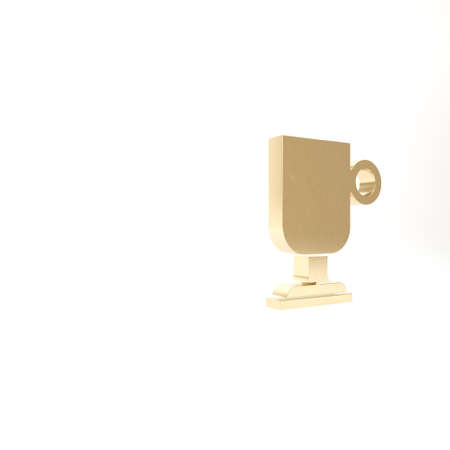 Gold Irish coffee icon isolated on white background. 3d illustration 3D render
