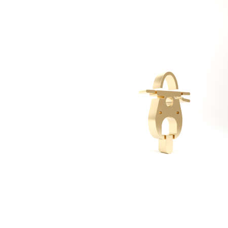 Gold Scooter icon isolated on white background. 3d illustration 3D render 免版税图像