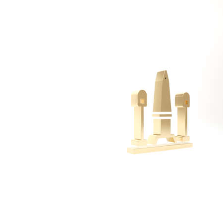 Gold Place De La Concorde in Paris, France icon isolated on white background. 3d illustration 3D render