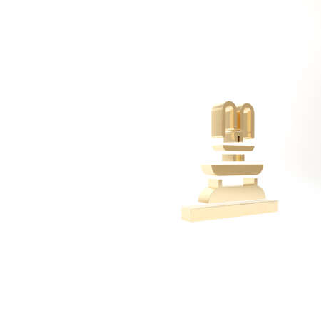 Gold Fountain icon isolated on white background. 3d illustration 3D render