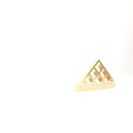 Gold Louvre glass pyramid icon isolated on white background. Louvre museum. 3d illustration 3D render