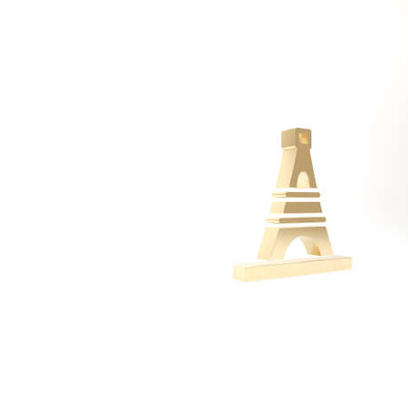 Gold Eiffel tower icon isolated on white background. France Paris landmark symbol. 3d illustration 3D render