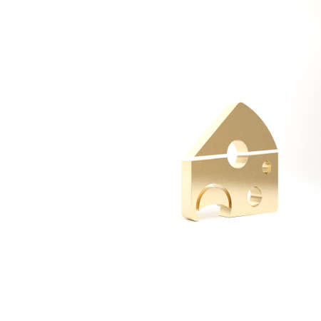 Gold Cheese icon isolated on white background. 3d illustration 3D render