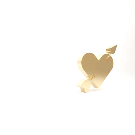 Gold Amour symbol with heart and arrow icon isolated on white background. Love sign. Valentines symbol. 3d illustration 3D render Reklamní fotografie