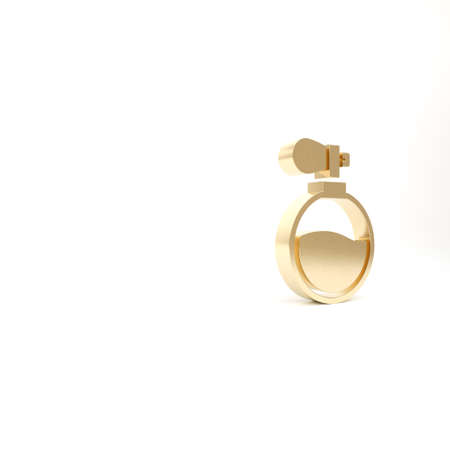 Gold Perfume icon isolated on white background. 3d illustration 3D render